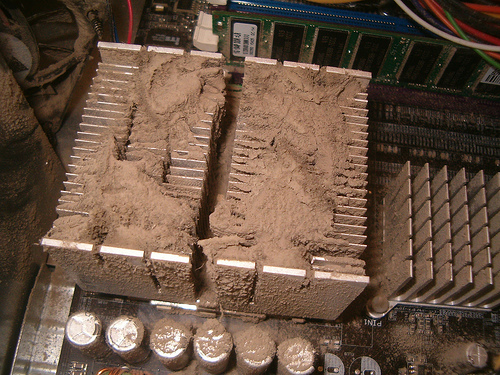 Dust with a heatsink under it