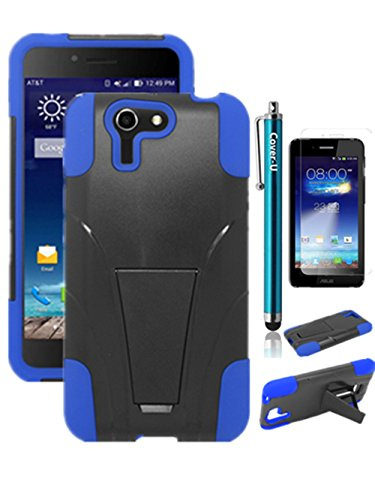 COVER U (TM) ASUS PadFone X From AT&T Hybird Dual Layer Armor Case with built in Kickstand Blue/Black Included [Free Premium Screen Guard + Free Cover U (TM) Stylus Pen + Anti-Dust Plug]