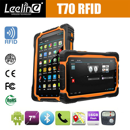T70R 7Inch IPS quad core 3G WIFI Bluetooth GPS Android ruggedized tablet with HF rfid reader