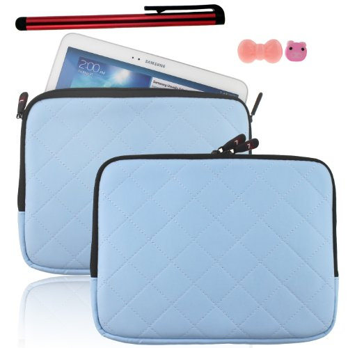 Ancerson New 10.2 inch Simple Classic Fashion Plaid Design Waterproof Synthetic PU leather Tablet Bag with Soft Inner Lining with Long Zipper Design Multi-Function Protective Netbook Slip Case Tablet Computer Messenger Bag For Samsung Galaxy Tab 3 P5200 P