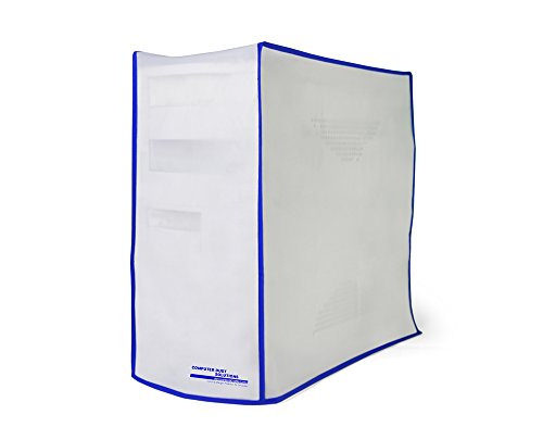 Computer Dust Solutions CPU Dust Cover, Covers PC Case, Silky Smooth Antistatic Vinyl, Translucent Coconut Cream Color with Blue Trim, Several Sizes Available, for Server Tower (10W x 20H x 24D)
