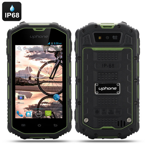 Uphone U5A Rugged Phone – Android 4.2 OS, Dual Core CPU, IP68 Waterproof + Dust Proof Rating, Shockproof (Green)