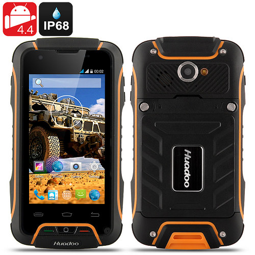 Huadoo V3 Rugged IP68 Phone – Waterproof, Dust Proof, 4 Inch Display, MTK6582 1.3GHz Quad Core CPU, 3G, Android 4.4 OS (Yellow)