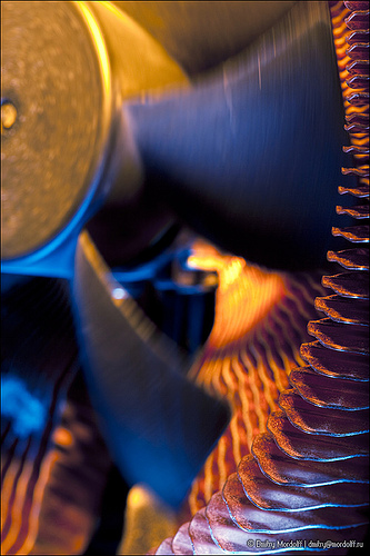 Close-up of Rotating Computer CPU Fan