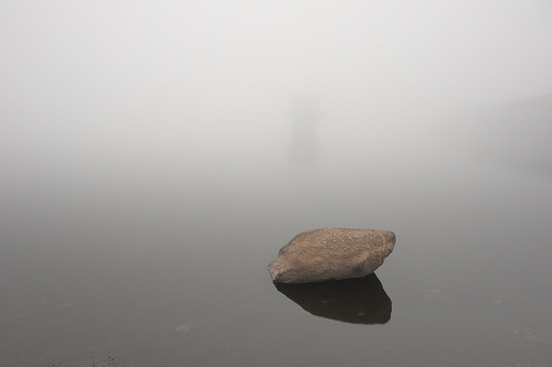 Colliford Reservoir on a very foggy morning