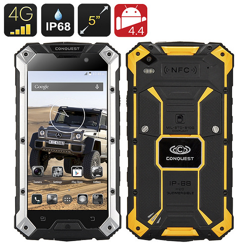 $356.53 – Conquest S6 Plus Rugged Smartphone – IP68 Waterproof, Dust Proof, 4G, Dual SIM, MTK8732 Quad Core CPU, 2GB RAM, NFC (Yellow)