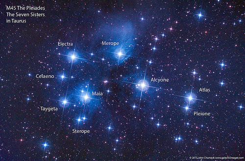M45 The Pleiades The Seven Sisters Open Star Cluster in Taurus