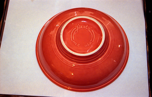 Persimmon Fiestaware Pedestal bowl bottom 1