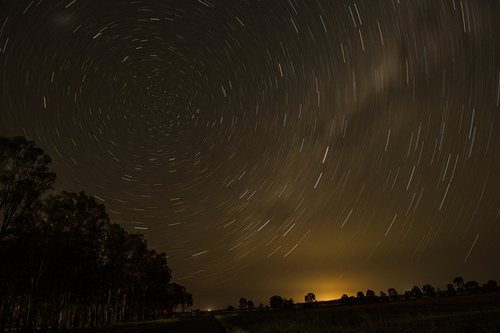 Stars circling around the Celestial South Pole, The Dish, CSIRO Radio Telescope, Parkes, New South Wales, Australia