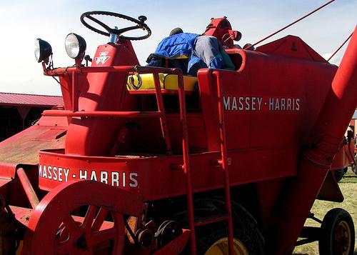 Old Self-propelled Massey Harris Combine