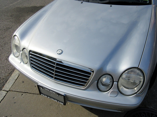 Angled View of Hood of 2002 Mercedes-Benz CLK-Class AMG