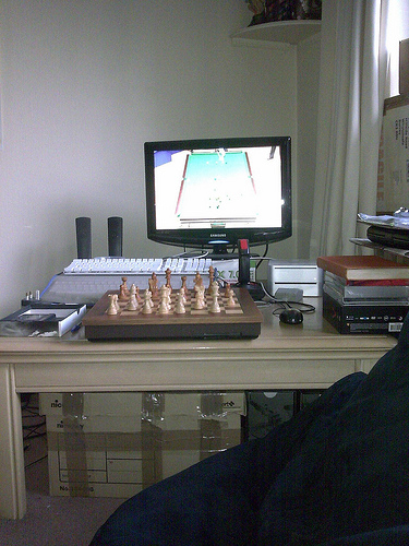 Watching the snooker