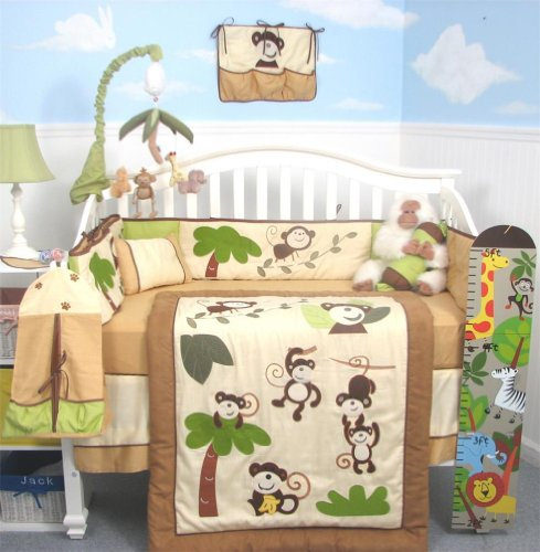 SoHo Curious Monkey Baby Crib Nursery Bedding Set 13 pcs included Diaper Bag with Changing Pad & Bottle Case Review