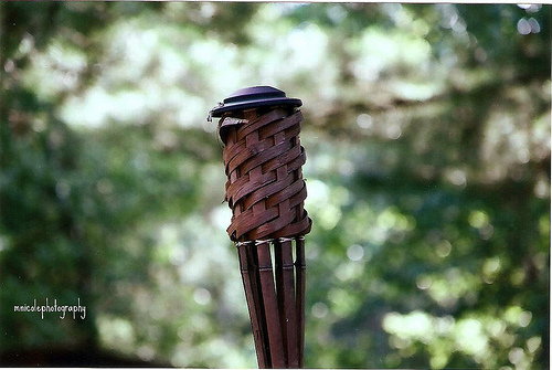 tiki torch with no flame and lots of bokeh :)