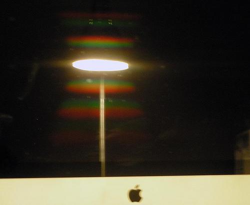 light on a  dark computer screen