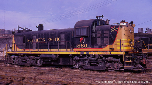 NP 860 Alco RS3 at Duluth on 10-21-1961