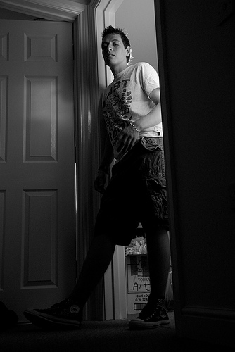 Balth, Black and White, in the door way. 100% natural light.