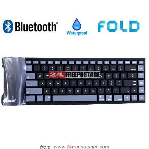 Black Bluetooth Wireless Washable Waterproof Flexible Soft Silicone Roll Up Keyboard