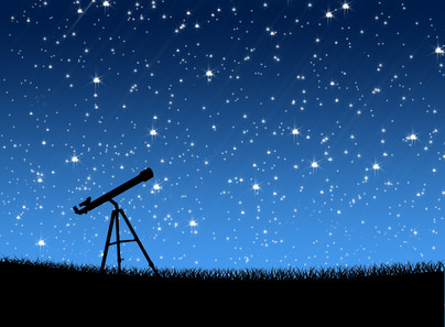 Telescope on the grass Under the Stars Astronomy