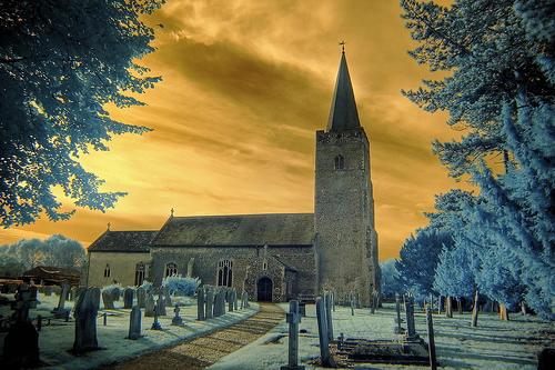 Infrared HDR All Saints church Earsham Norfolk