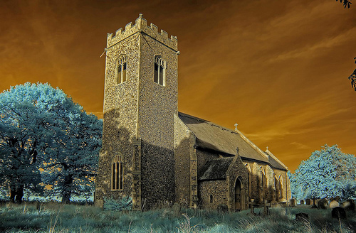 Infrared St Nicholas church Swafield Norfolk