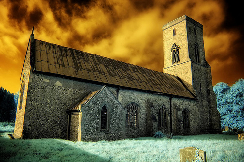 Infrared All Saints church Sharrington Norfolk