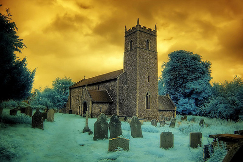 Infrared All Saints church Thornage Norfolk
