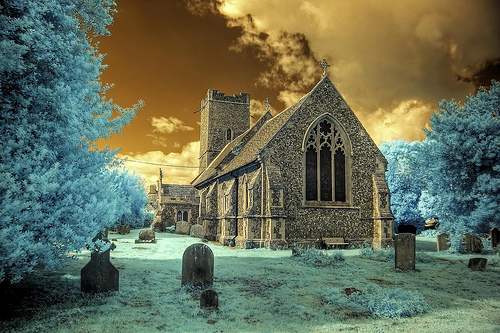 Infrared HDR All Saints church Rede Suffolk