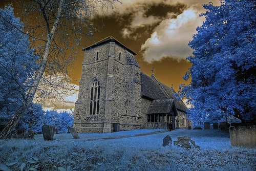 Infrared HDR St Nicholas church Stanningfield Suffolk