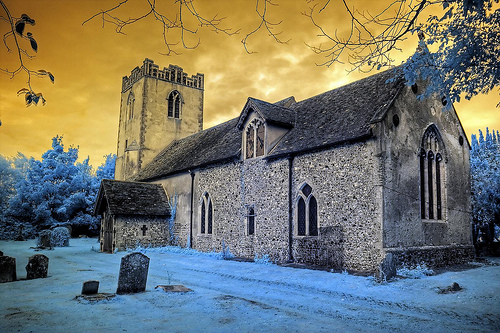 Infrared HDR St Nicholas church Wattisham Suffolk