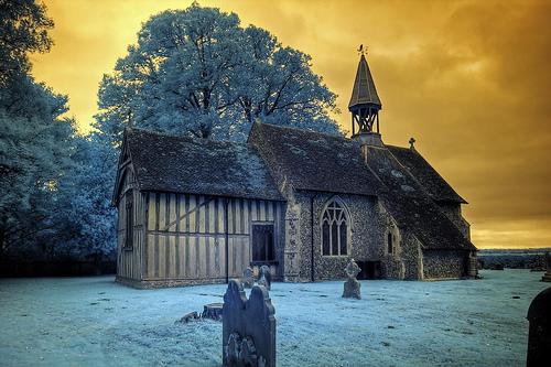 Infrared HDR All Saints church Crowfield Suffolk