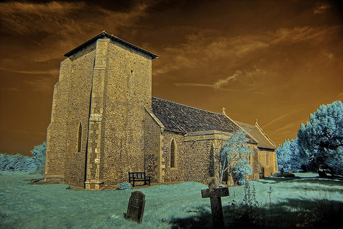 Infrared All Saints church Crostwight Norfolk