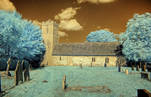 Infrared HDR St John the Baptist church Barnby Suffolk