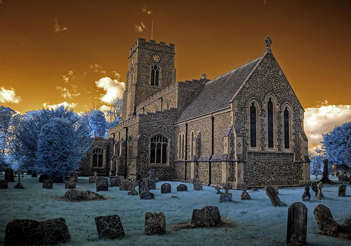 Infrared HDR All Saints church Lawshall Suffolk