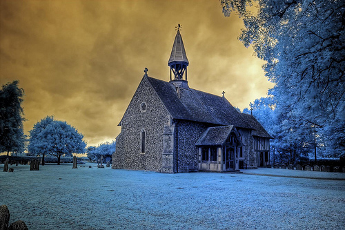 Infrared HDR All Saints church Crowfield Suffolk