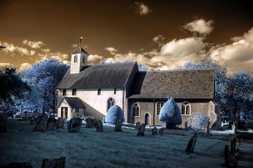 Infrared HDR St Thomas of Canterbury church Great Whelnetham Suffolk