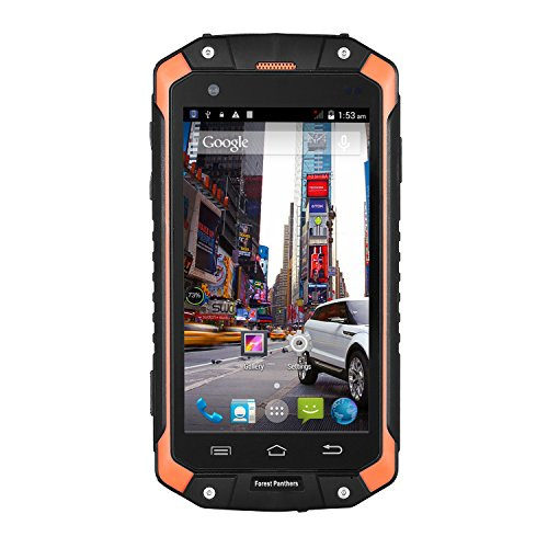 Dax-Hub Forest Panthers Military Level Design Rugged 3-Proof Smart Phone Dust Proof Waterproof Shockproof Mobile Cell Phone with Unlocked 2G Android 4.4.2 RAM 512GSM; 3G WCDMA mb ROM 4gb Back-up Phone (Orange)