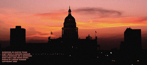 AUSTIN SUNDOWN BEHIND THE CAPITOL BUILDING