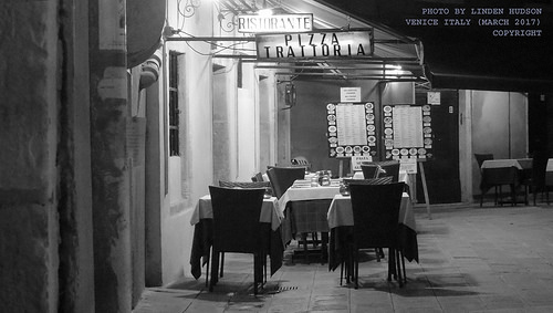 CAFE IN VENICE AT NIGHT - B&W