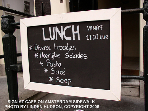 SIGN AT AMSTERDAM CAFE - LUNCH SPECIALS
