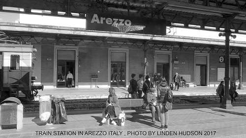 SMALL TRAIN STATION IN AREZZO ITALY - B&W