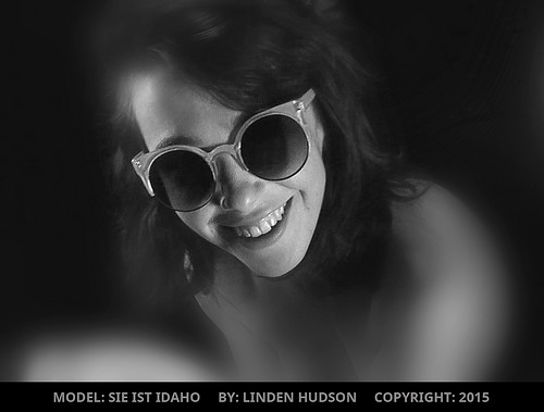 CUTE MODEL IN FUNNY SUNGLASSES - B&W