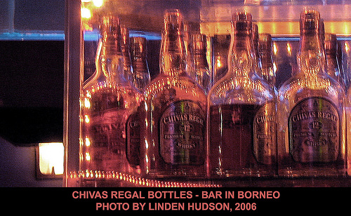 CHIVAS REGAL SCOTCH BOTTLES - RED LIGHT - BORNEO