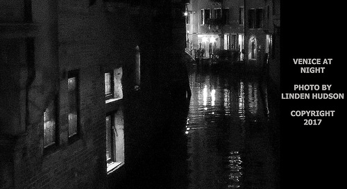 VENICE CANAL & BUILDING AT NIGHT - Black And White