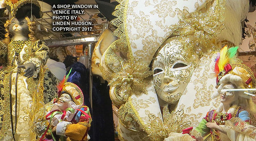 CARNIVAL ART IN VENICE SHOP WINDOW