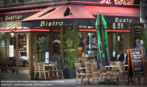 BISTRO ON A STREET CORNER IN PARIS