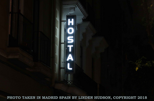 HOSTAL SIGN IN MADRID SPAIN
