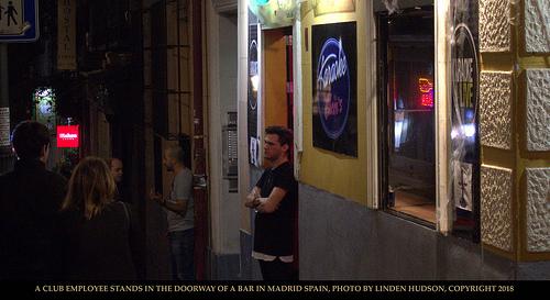 BAR WORKER IN DOORWAY - MADRID