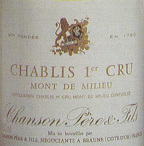 Chablis Grand Cru Chanson 1980 French Wine Label