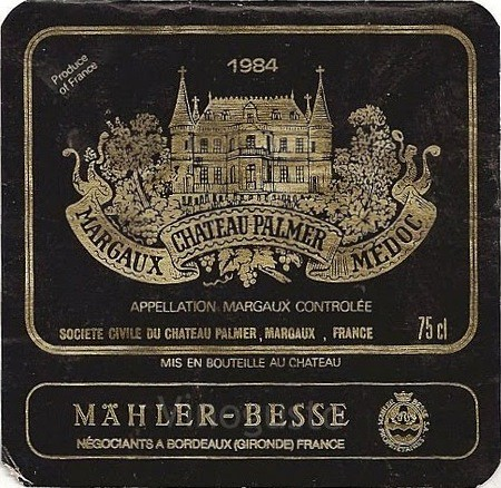 French Wine Label Chateau Palmer Medoc 1984
